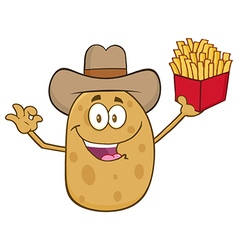 Western Potato Cartoon Holding Fries vector image vector image