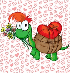 a in love cartoon turtle vector image
