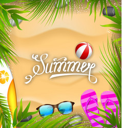 beautiful poster with palm leaves beach ball vector image