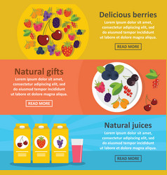 berries food banner horizontal set flat style vector image