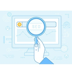 flat linear in blue colors - seo concept vector image