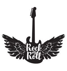 guitar and the words rock and roll vector image vector image