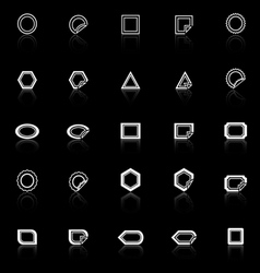 Label line icons with reflect on black background vector image vector image