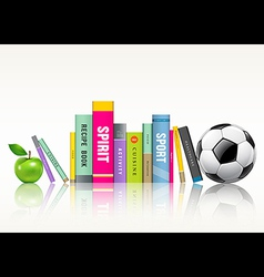 Row of colorful books soccer ball and green apple vector image vector image