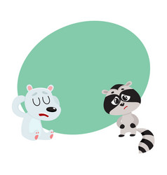 sick raccoon and bear having headache suffering vector image