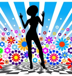 silhouette of dancing girl vector image vector image