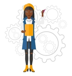 Woman standing on gears background vector