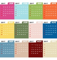 2017 calendar template color folder vector image