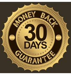 30 days Gold Money Back Guarantee Label vector image
