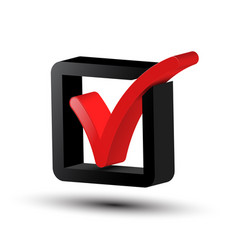 3d tick symbol red and black checkbox icon vector