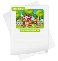 a picture narrative worksheet vector image