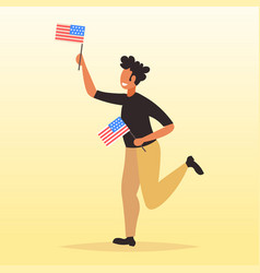 African american man holding usa flag 4th july vector