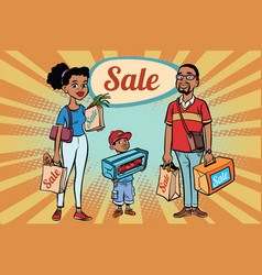 African family dad mom and son with shopping on vector
