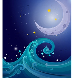 An image of the sea waves with a moon vector