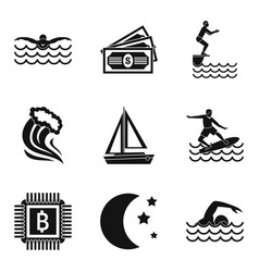 Aquatic sport icons set simple style vector