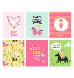 bacards with hand drawn girls on ponies vector image
