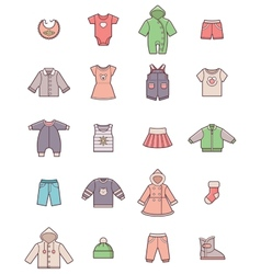 baclothes icon set vector image