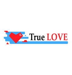 banner with red heart vector image