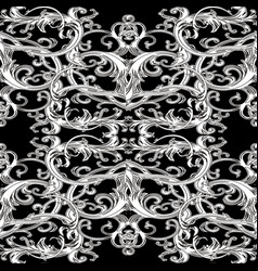 baroque ornate seamless pattern black and white vector image