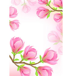 beautiful background with spring magnolia branch vector image