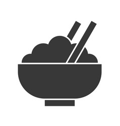 Bowl of rice and chop stick food and beverage set vector