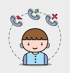 Boy with phone call icons app vector