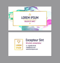 business card template with marble texture on vector image