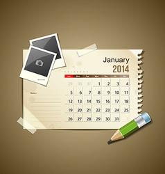 Calendar January 2014 vector image vector image