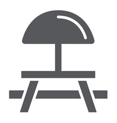 Camping table glyph icon furniture and travel vector