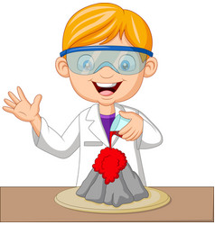 Cartoon boy scientist doing volcano experiment vector