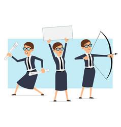cartoon business coach woman character set vector image