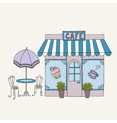 Cartoon of street cafe vector
