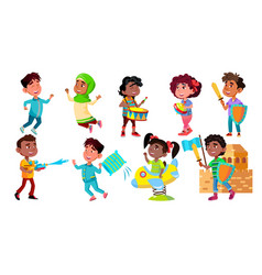 character children rejoice and playing set vector image