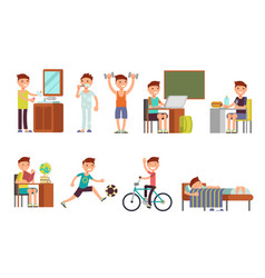 Child boy daily routine set vector