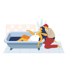 Childbirth in bath pregnant woman in tub and vector