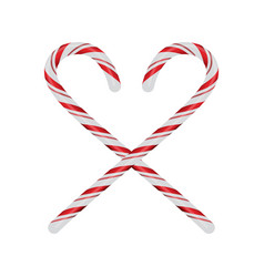Christmas candycanes crossed and isolated on white vector