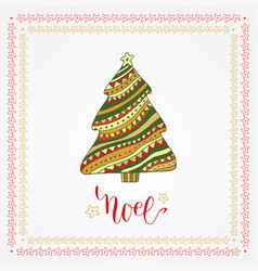 Christmas card with creative christmas tree vector