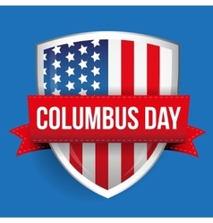 Columbus Day on USA flag shield vector