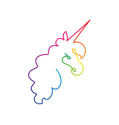 Continuous rainbow line art of unicorn head vector
