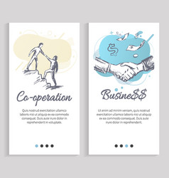 cooperation and business monochrome sketches vector image