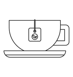 Cup of tea icon outline style vector image