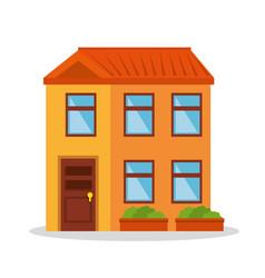 Cute building exterior icon vector