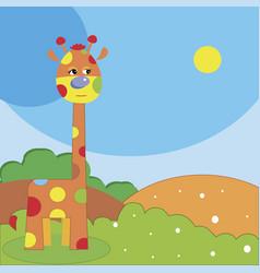 cute cartoon funny giraffe walking in th vector image