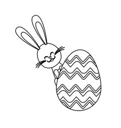 cute easter bunny egg decoration ornate line vector image
