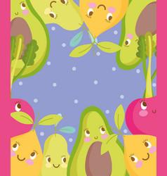 Cute food pattern design avocado pear cherry vector