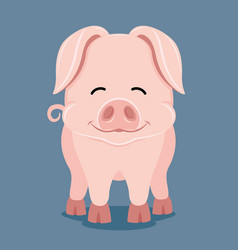 Cute pig smiling vector
