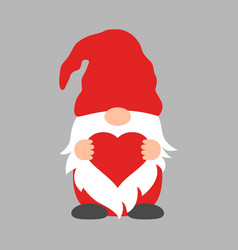 cute valentime gnome with heart in red hat vector image
