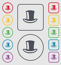 cylinder hat icon sign symbol on the Round and vector image