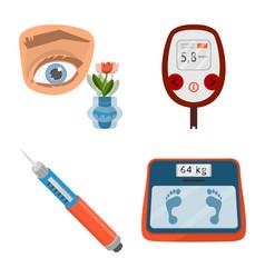 Design mellitus and diabetes icon set vector