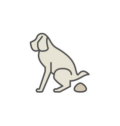 Dog pooping colorful icon vector